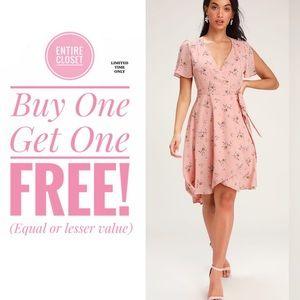 NWT Lulus Blush Pink Floral Print Midi Wrap Dress